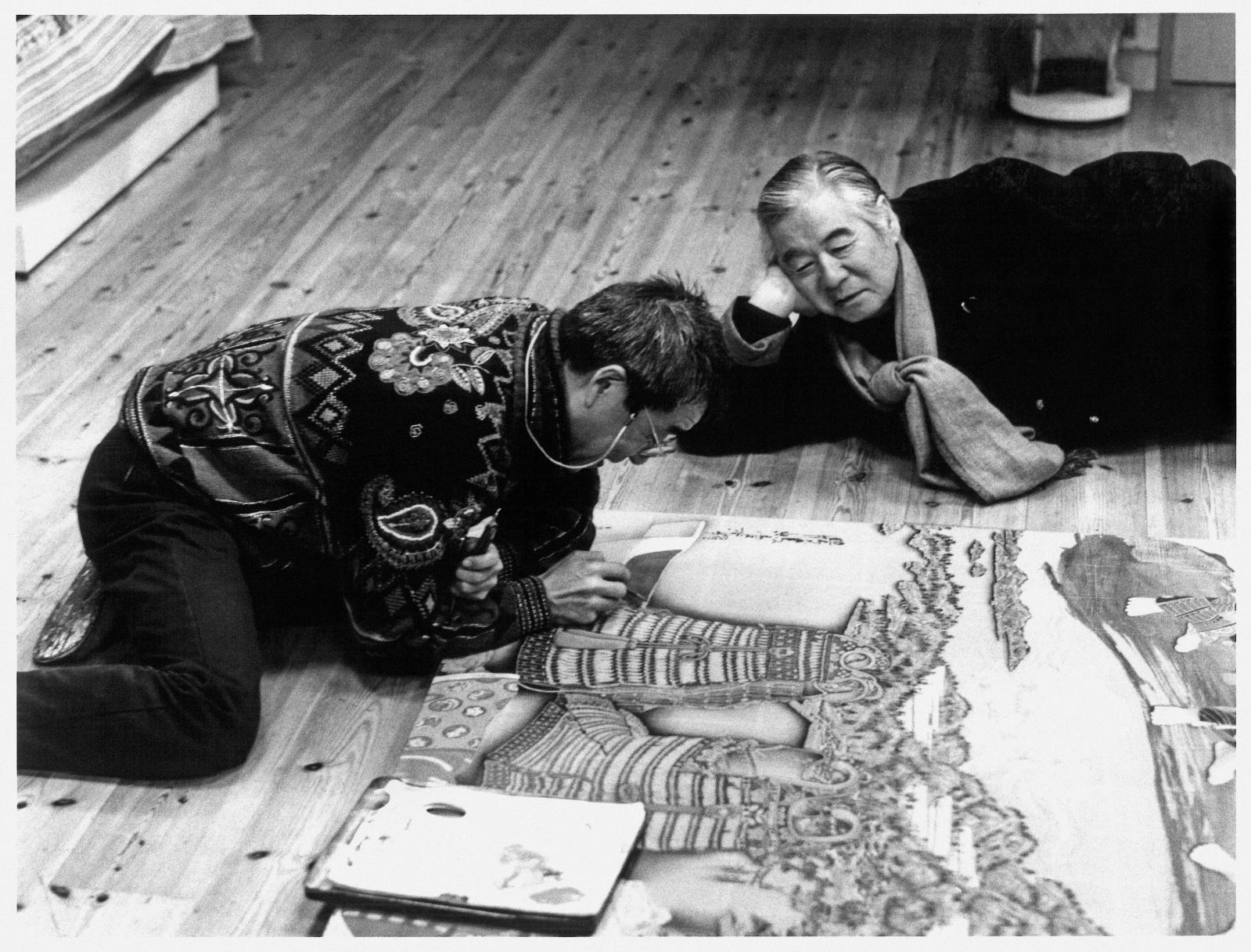 L'artiste Kyosuke Tchinaï et Kiyoshi Taménaga, à Saitama en 2002. Courtesy Galerie Taménaga