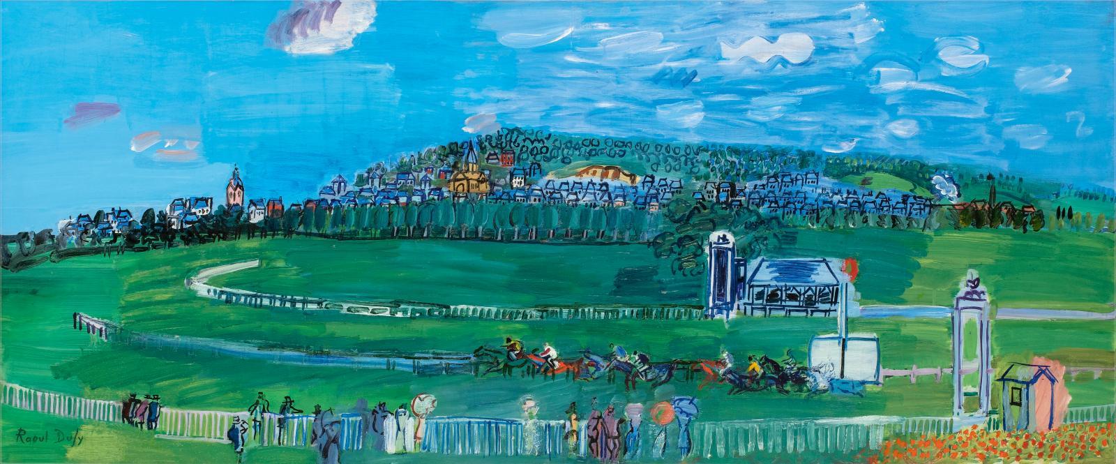 Raoul Dufy(1877-1953), Les Courses à Deauville, vers 1930, huile sur toile, 54x130cm. Courtesy Galerie Taménaga