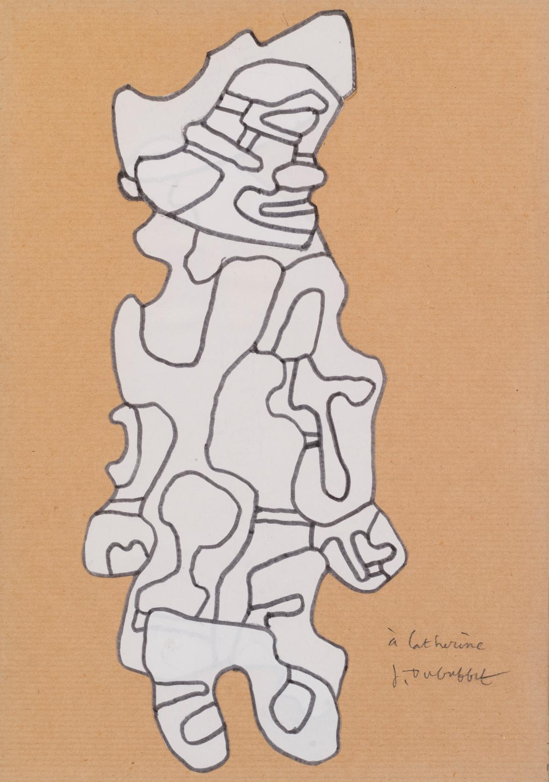 Jean Dubuffet, Fille aux cheveux, 12 août 1970. COURTESY GALERIE BAUDOIN-LEBON