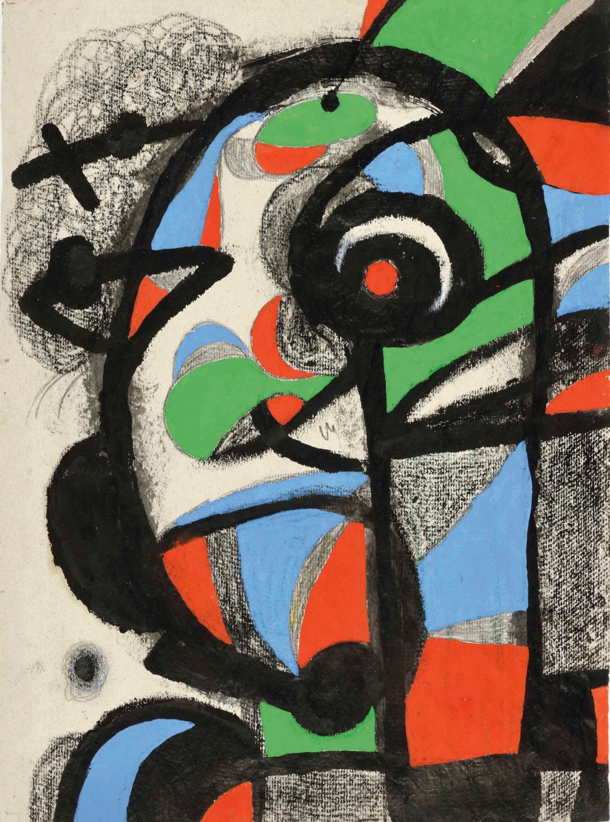 Joan Miró, Composition, 1981, gouache, encre et crayon sur papier, 56 x 40 cm. Galeria Jordi Pascual. © Succession Miró, ADAGP, Paris, 202