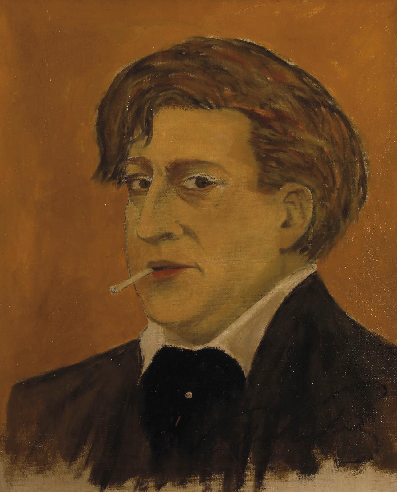 Sacha Guitry (1885-1957), Autoportrait, vers 1913 huile sur toile, 65x55cm. Adjugé: 4608€