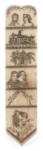 227€ Attribué à John Stratton, États-Unis, vers 1840, modèle réduit de busc de corset en os de cétacé à décorde sixsaynètes gravées soulignées à l'