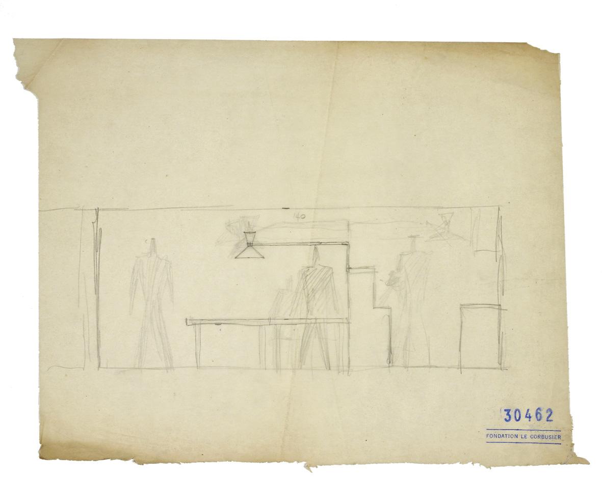 Dessin préparatoire du Corbusier pour la Lampe de Marseille, qui s'appuie sur son unité de mesure, le modulor. Un projet abouti deux ans avant le modè