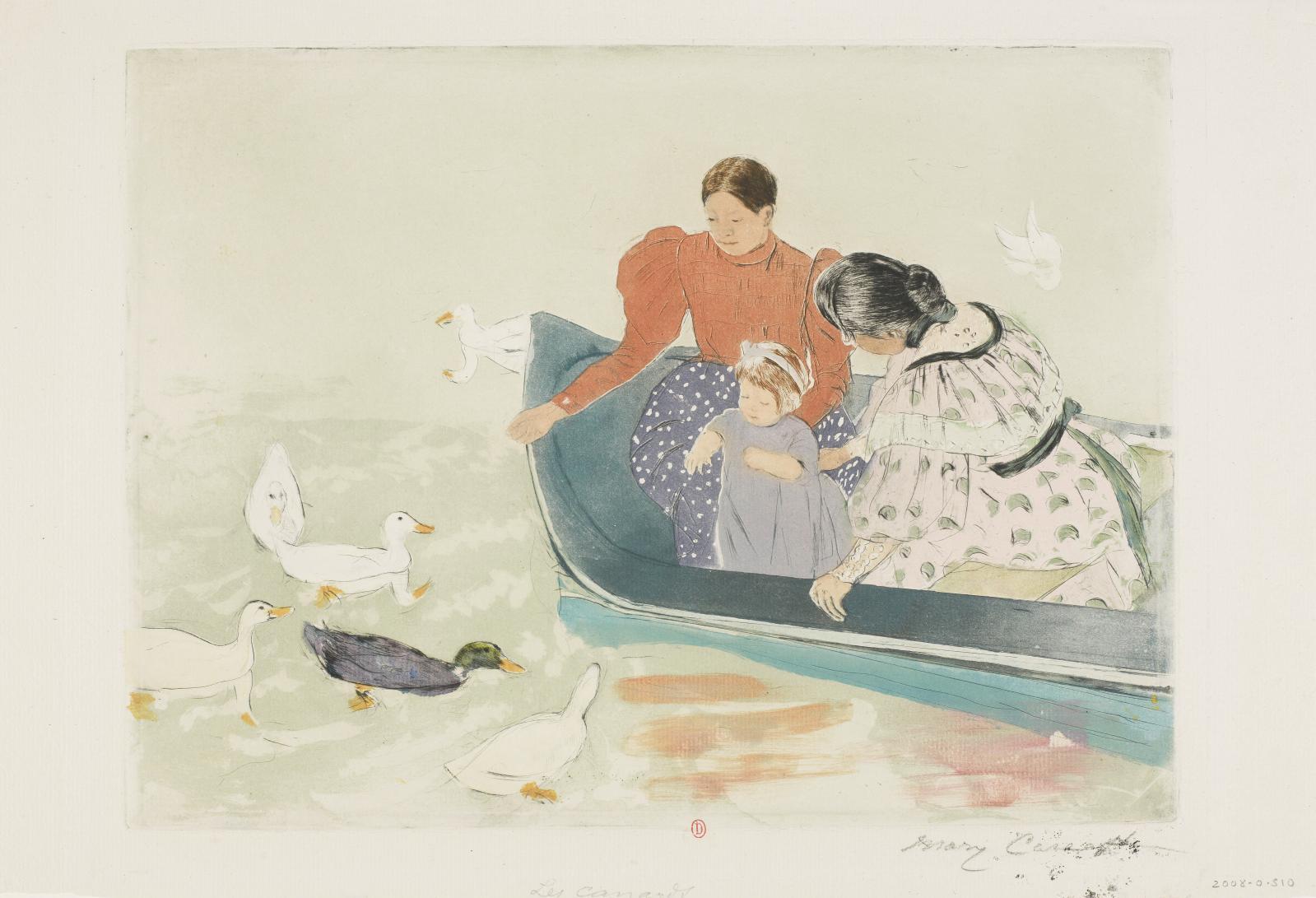 Le Repas des canards, vers 1895, pointe-sèche, vernis mou, aquatinte en couleurs et rehauts d'aquarelle, 29,9x40cm, Paris, Institut national d'hist