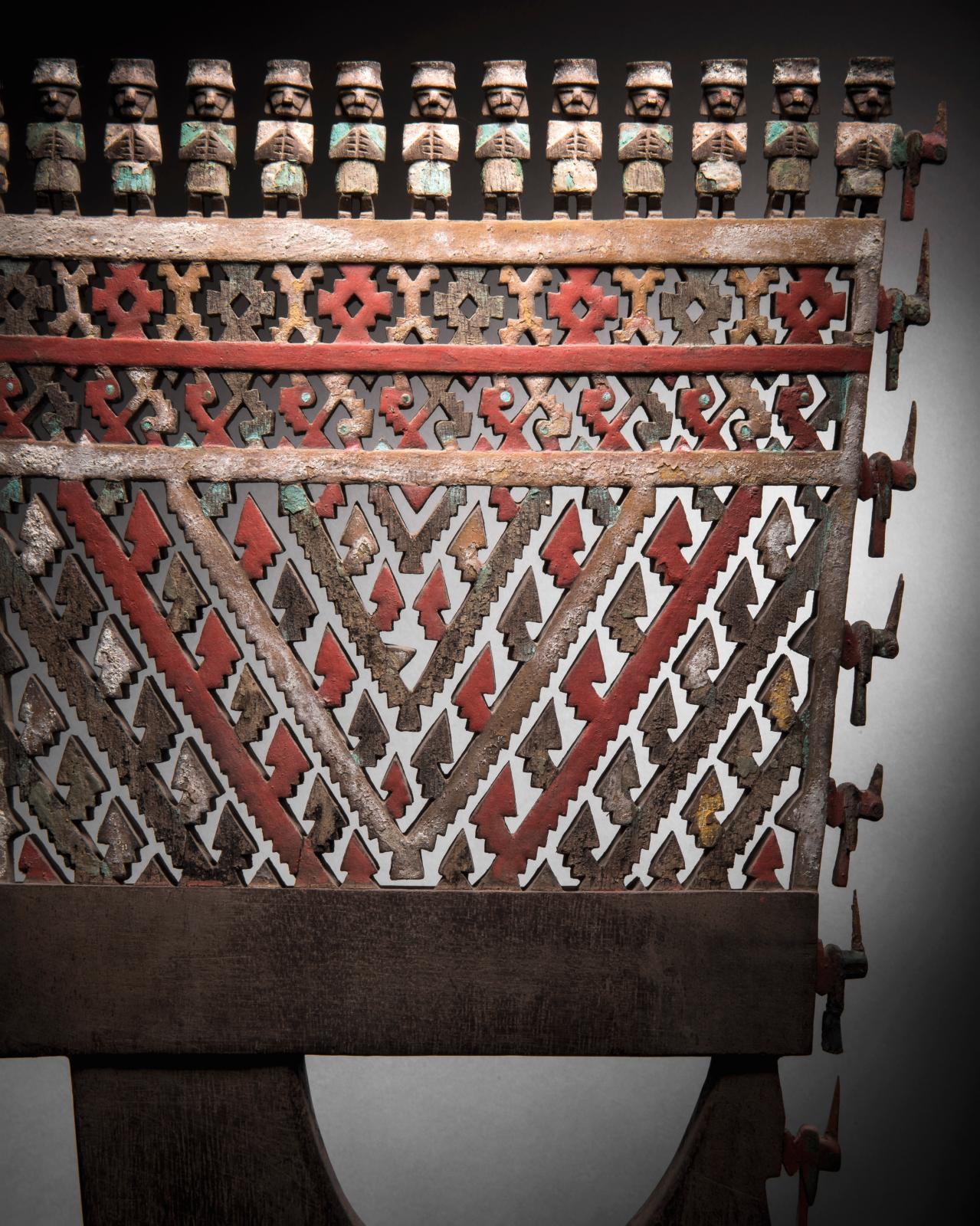 Rame cérémonielle, vallée d'Ica, Chincha, Pérou, intermédiaire récent, 1000-1470apr.J.-C. Rame cérémonielle, bois à patine naturelle et à décor poly