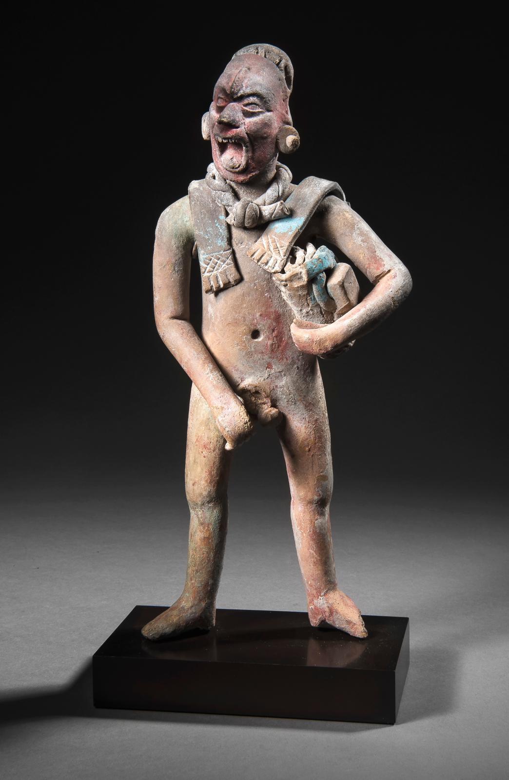 Culture maya, île de jaina, État de Campeche, Mexique, Classique récent, 600-900apr.J.-C. Personnage debout pratiquant un autosacrifice, céramique p