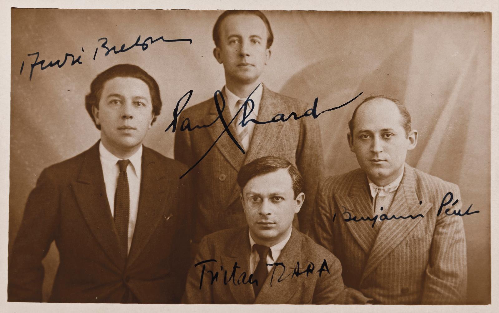 Original photograph, c. 1921, original period print on postcard showing André Breton, Paul Éluard, Tristan Tzara and Benjamin Péret, signed by the fou
