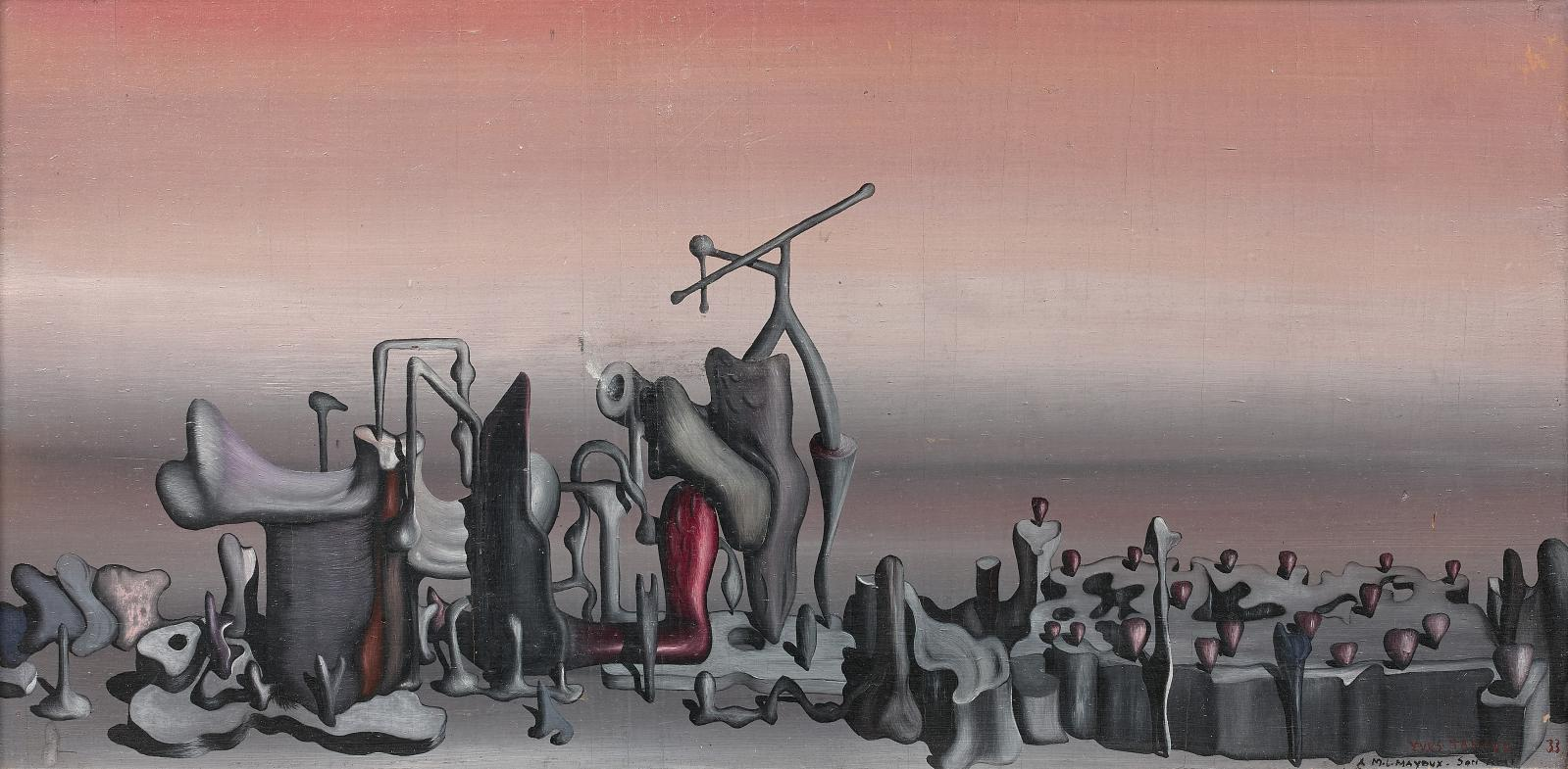 "Yves Tanguy (1900-1955), ""La Couche sensible"", 1933, oil on panel,signed, dated (19)33 and dedicated to ""A M.L. Mayoux son ami"", 17.3 x 34.8 cm.Estima"