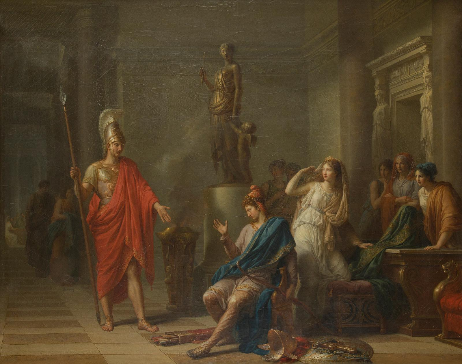 "€505,600 Jean-Charles Nicaise Perrin (1754-1831), ""Hector in Helen's palace, upbraiding Paris for his cowardice and announcing a single combat"", oil o"
