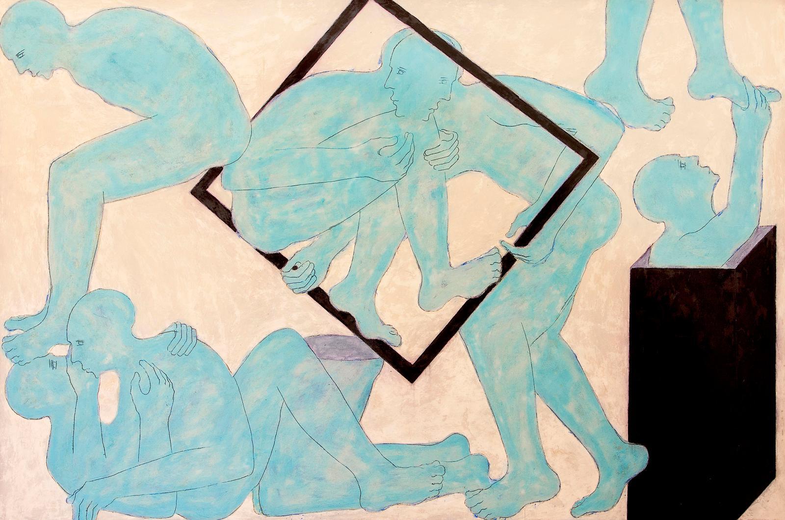 Mahi Binebine (né en 1959), Sans titre, 2017, cire et pigments sur panneau, 200x300cm.