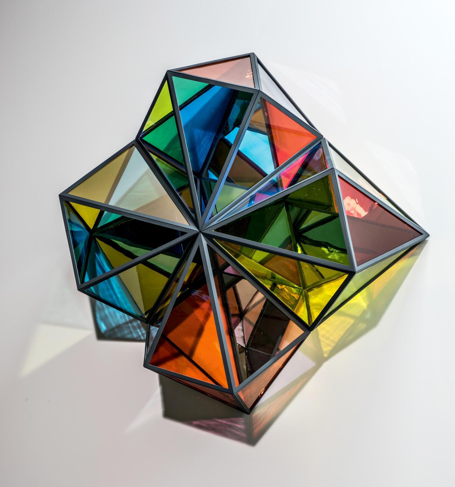 Colour Window, acier inoxydable, verre coloré (jaune, bleu, vert, orange, rose, transparent), verre filtre effet couleur (vert, orange), miroir, or, p