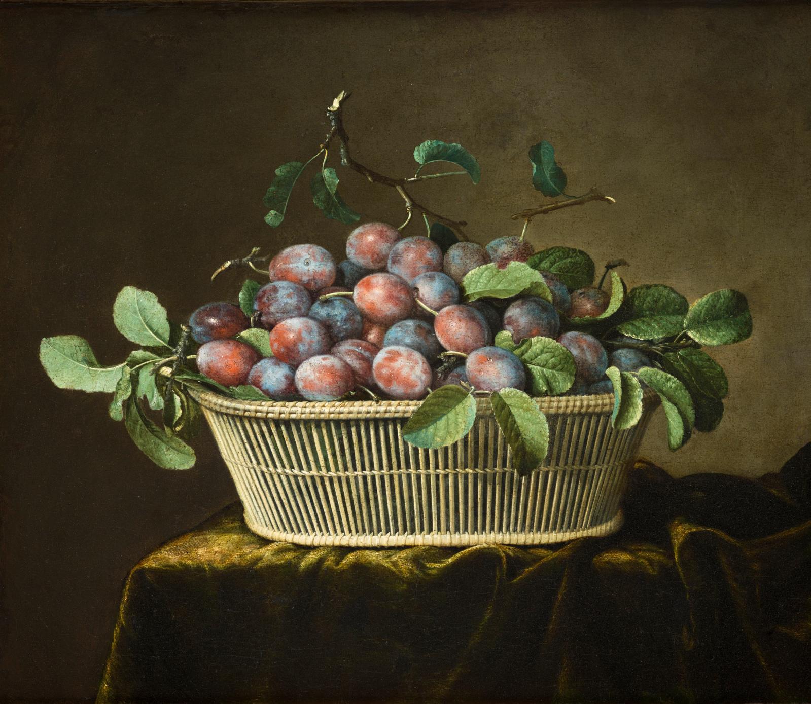 Pierre Dupuis, Le Panier de prunes,  huile sur toile, 50 x 61 cm.