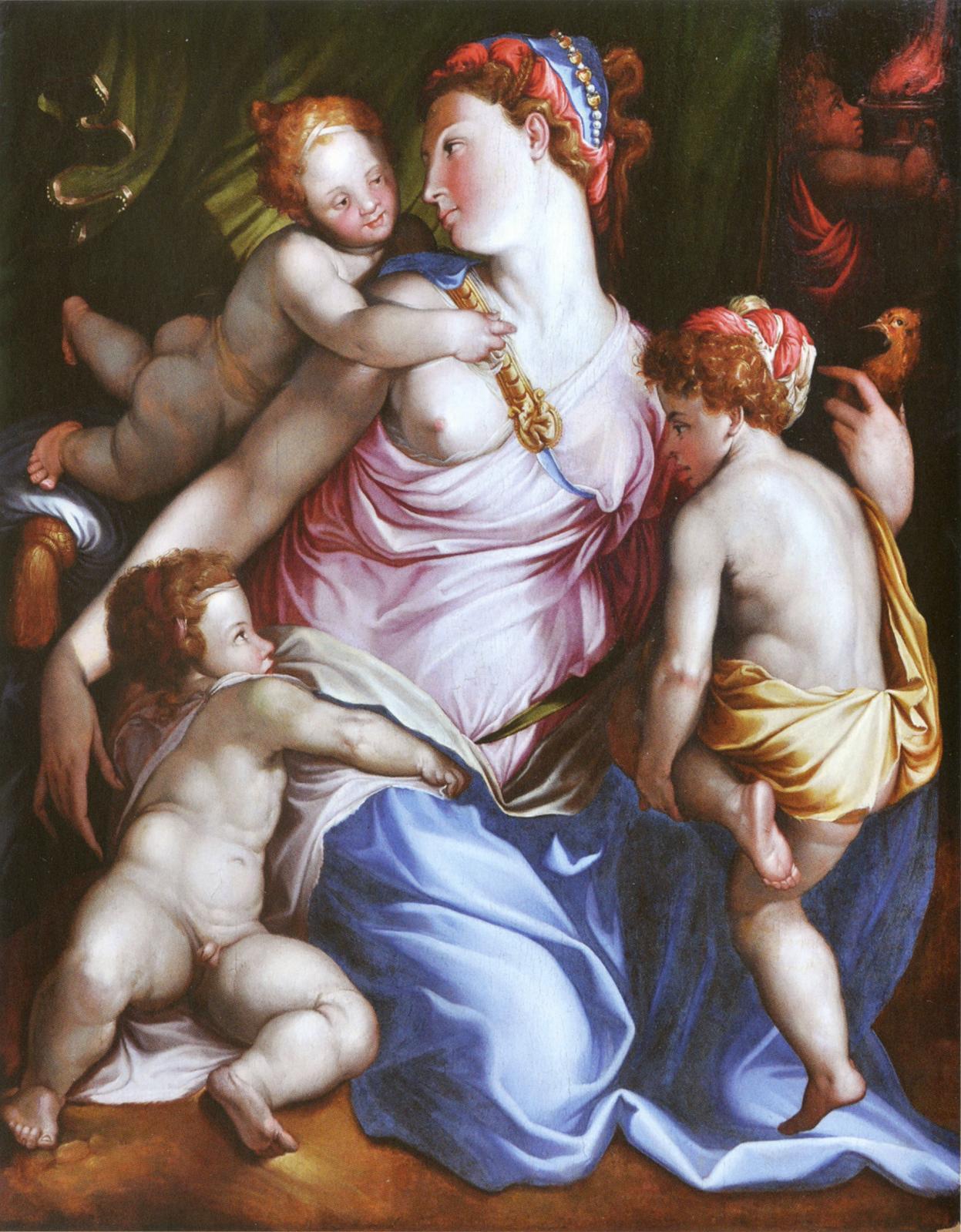 Atelier de Francesco Salviati, La Charité, huile sur bois, 109 x 87 cm, La Fère, musée Jeanne-d'Aboville.