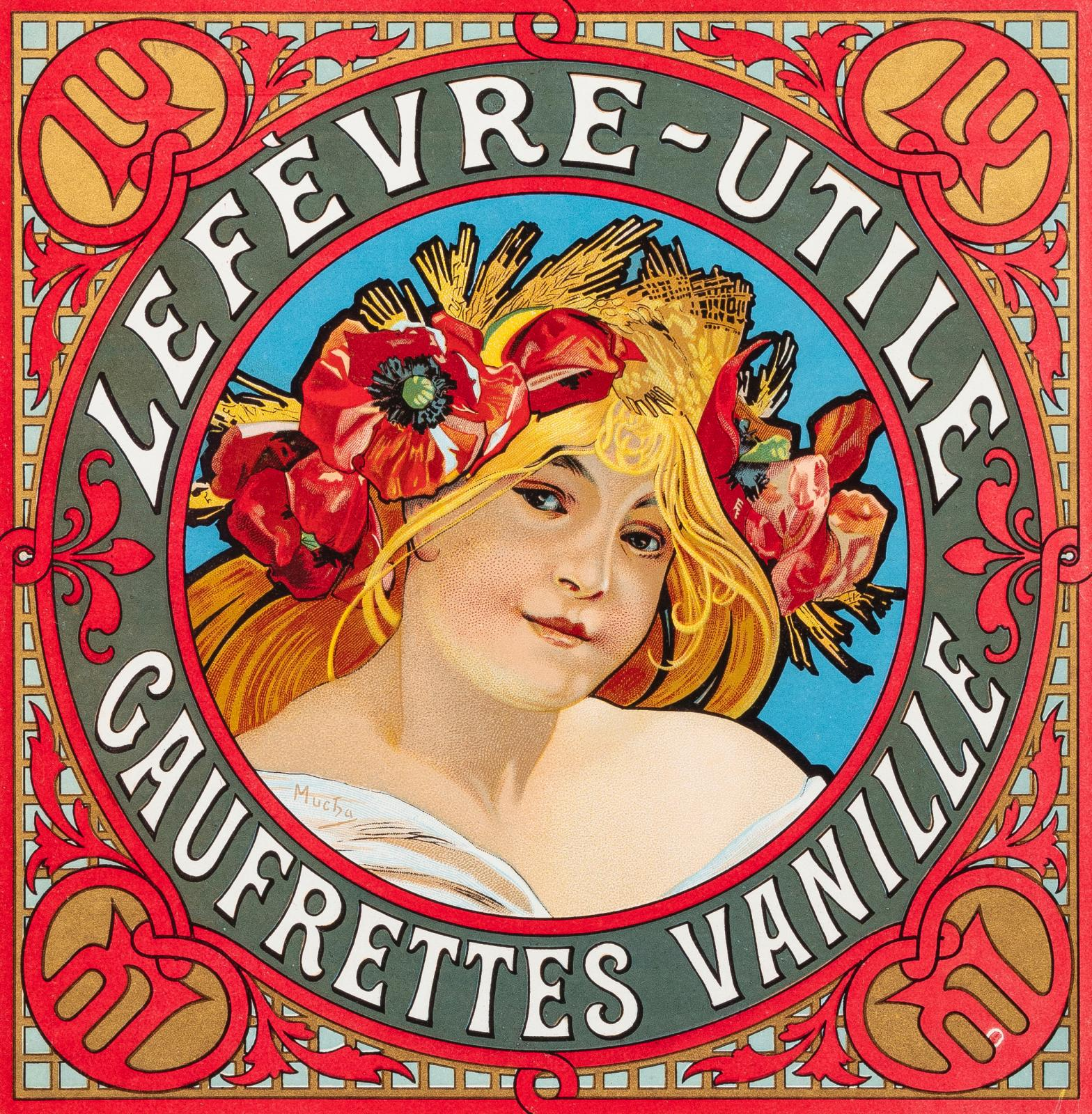 Alphonse Mucha (1860-1939), c. 1898, chromolithograph on paper, label for boxes of LU vanilla wafers, Ferdinand Champenois printing works, Paris, 25.6