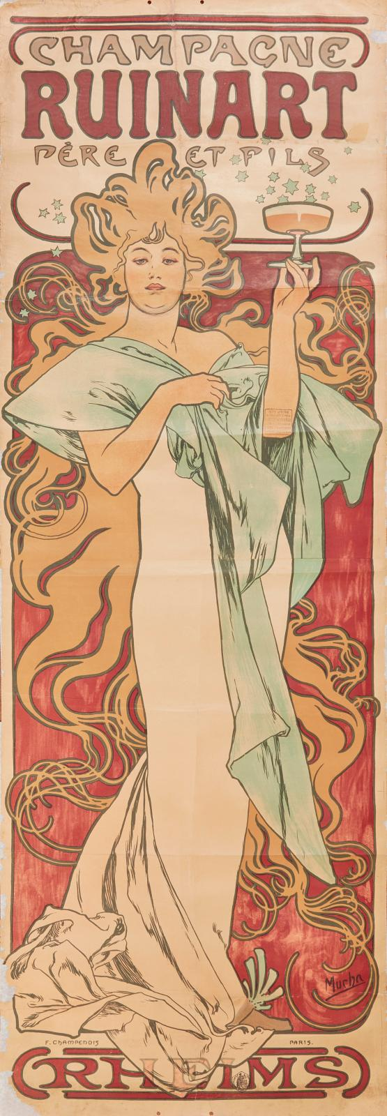 "Alphonse Mucha (1860-1939), ""Champagne Ruinart"", 1896, colour lithograph, 174 x 60.5 cm.Paris, Drouot, 2 February 2018, Audap-Mirabaud auction house.E"