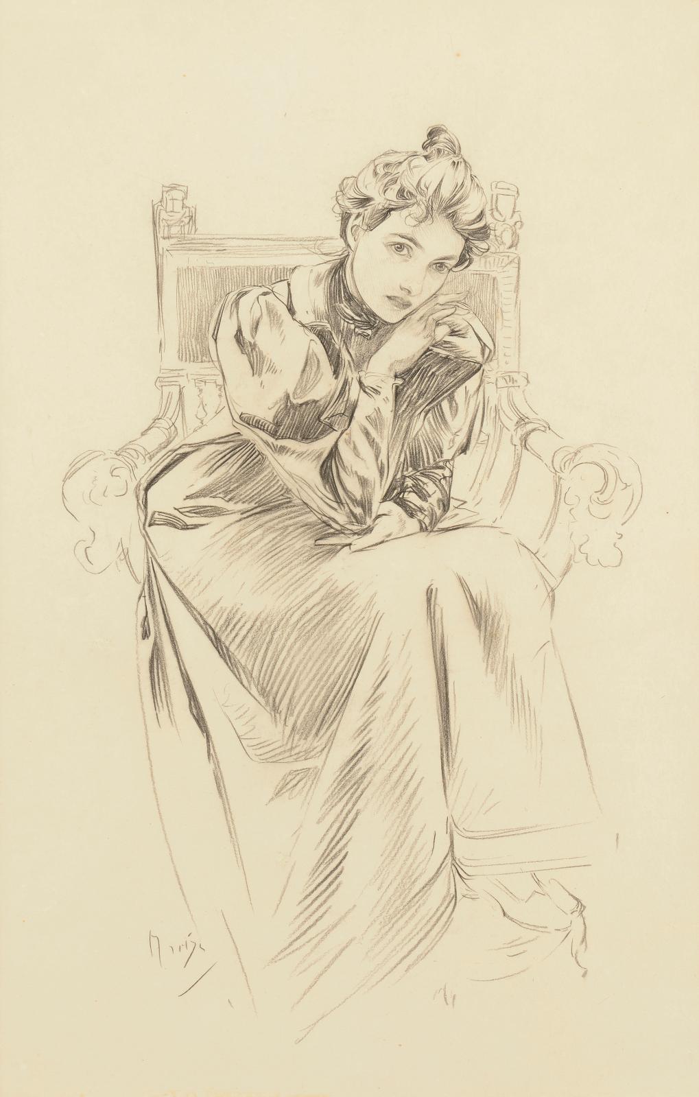"""Alphonse Mucha (1860-1939), """"Un modèle dans l'atelier de l'artiste, rue du Val-de-Grâce"""", c. 1900, black stone drawing, 45.5 x 30.5 cm.Paris, Drouot,"""