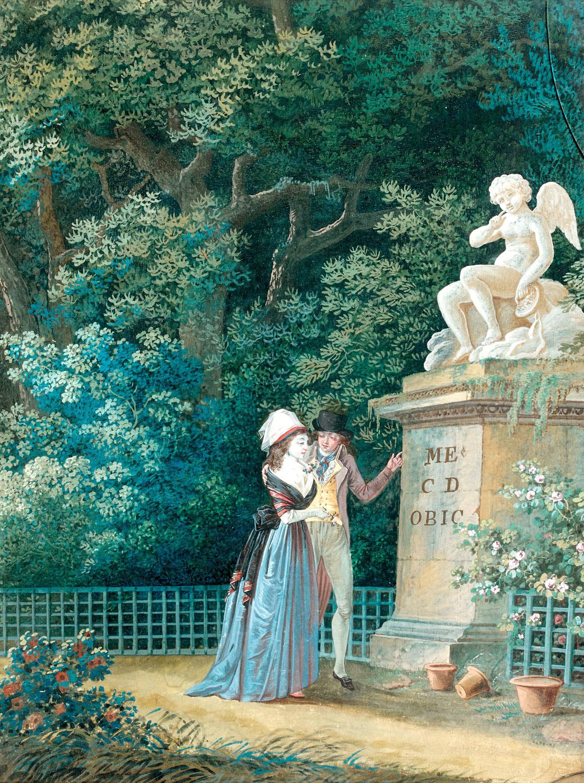 Jean-Baptiste Mallet (1759-1835), L'Offrande à l'Amour, aquarelle gouachée d'une paire, en pendant, La Déclaration d'Amour, 33,5x25,5cm. Paris, Dro