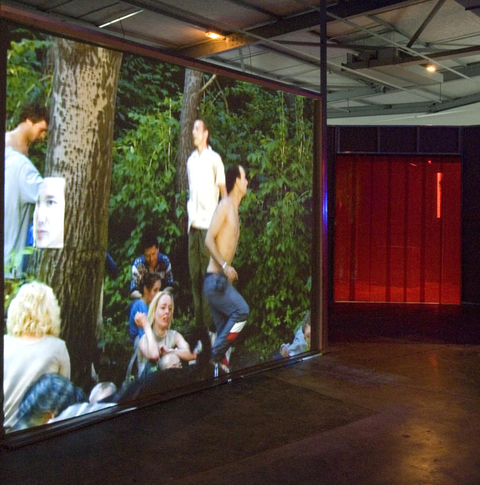 Vue de l'exposition de la collection Lemaître à la Maison rouge, en 2006. Aernout Mik, Park, 2002 20'. Scénographie bureau des Mésarchitectures (Didie