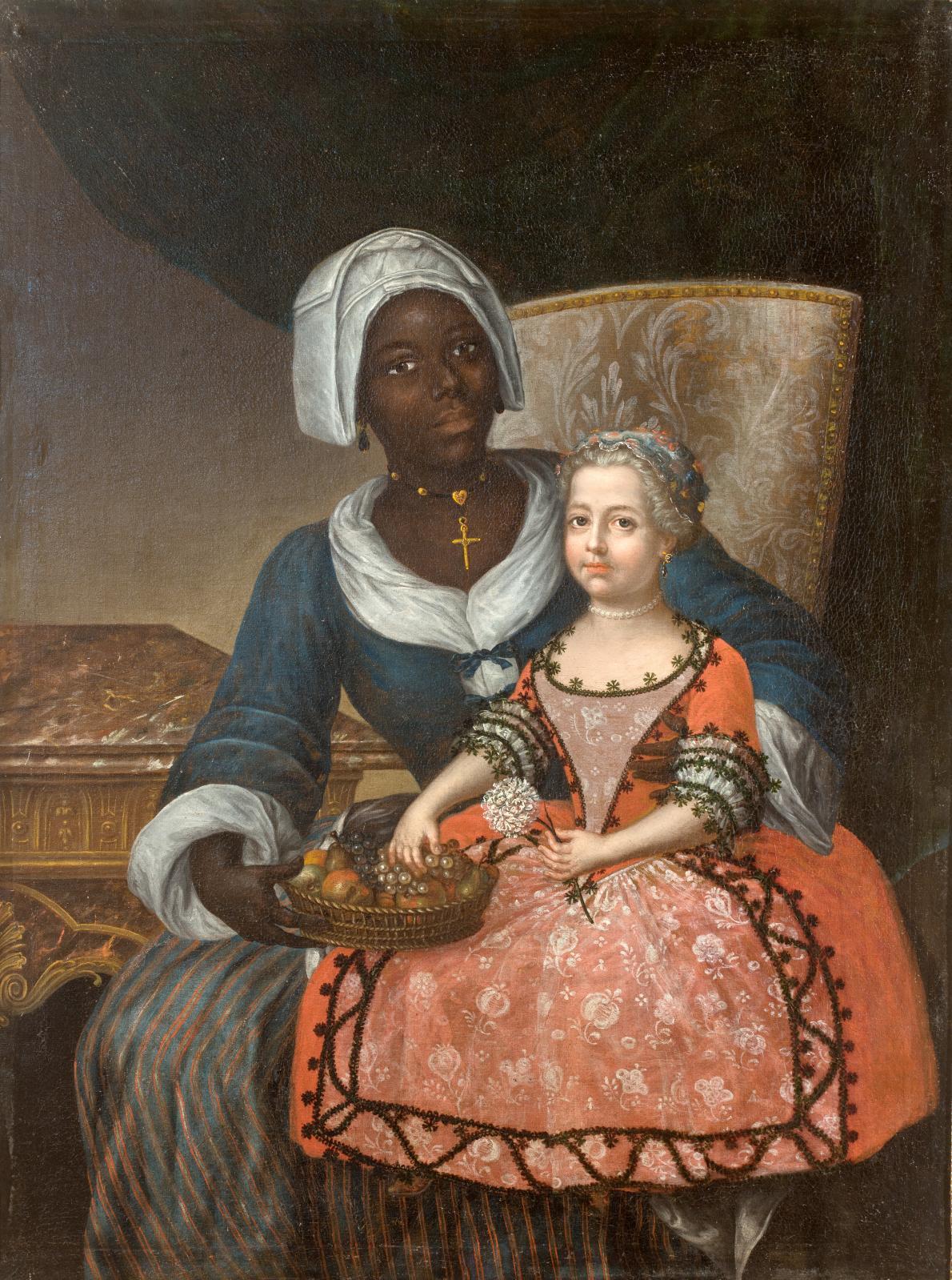 École française de la première moitié du XVIIIesiècle, Portrait de Marie-Anne Grelier avec sa nourrice, 1718, huile sur toile. musée du Nouveau Monde
