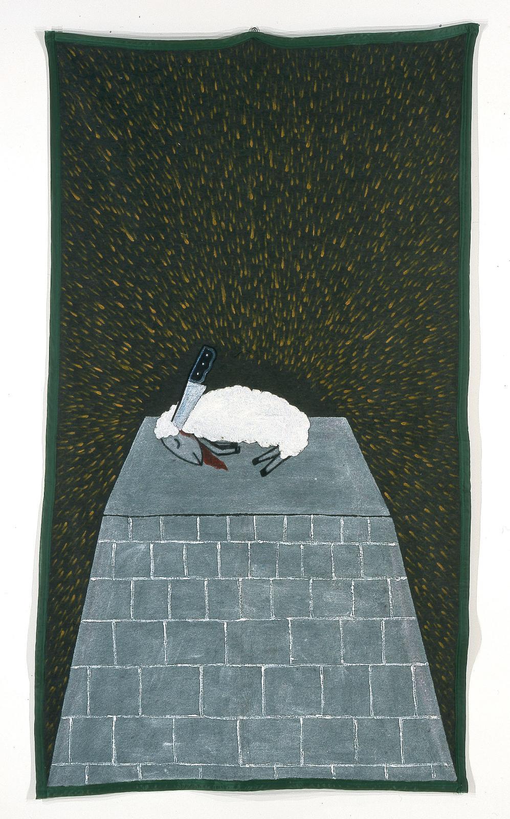 """Feliciano Centurión (1962-1996), """"Cordero sacrificado"""", 1996, acrylic on polyester blanket, c. 236.2 x 130.8 cm."""