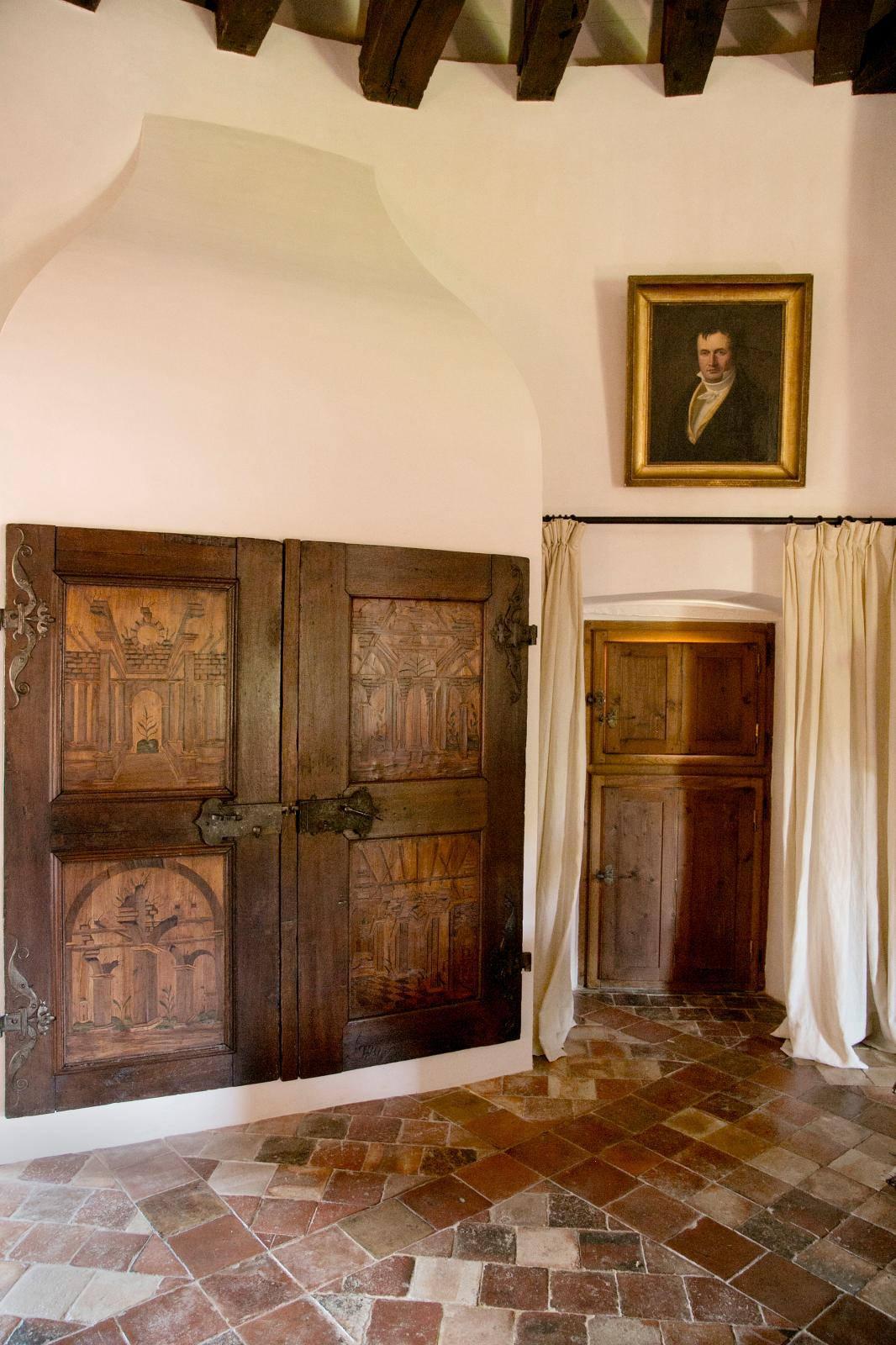 A pair of 16th century German doors at Château Lagrézette, Alain-Dominique Perrin's estate.