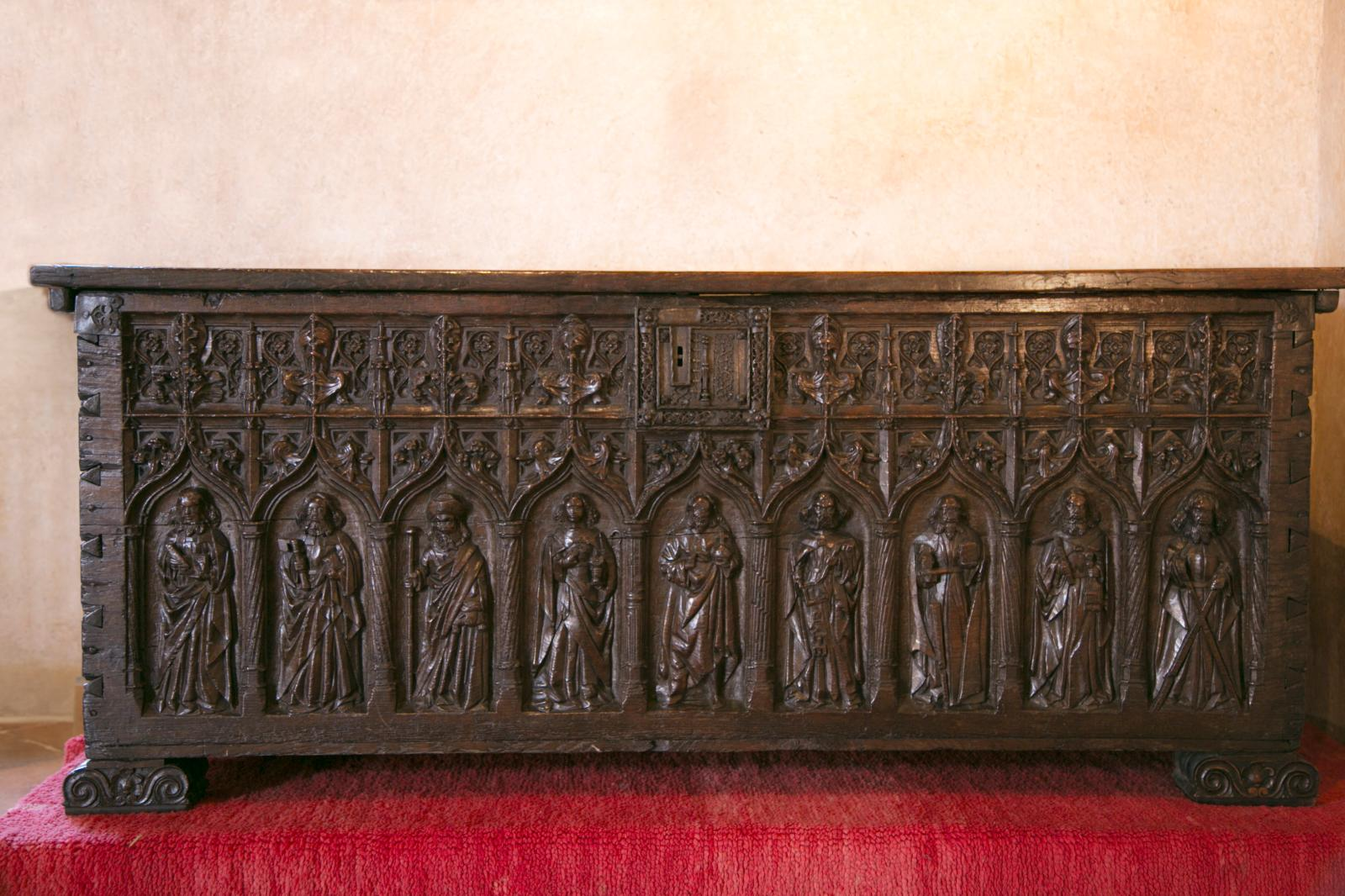 A 15th century French vestment chest at Château Lagrézette, Alain-Dominique Perrin's estate.