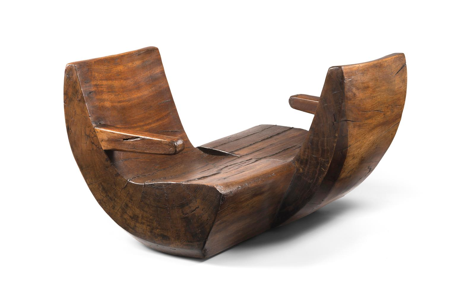 """Namoradeira"" chair in solid pequi, designed by Jose Zanine Caldas for his property in Joatinga, near Rio de Janeiro, in c. 1965."